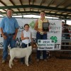 Grand Champion Doe winner, Savannah Shepard (left), shown by Madelyn Chappell (right) pictured with show judge, John Barnes.