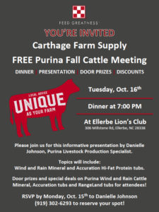 Cover photo for Purina Fall Cattle Meeting - October 16, 2018