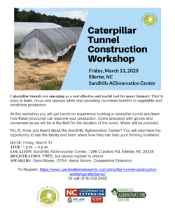 Hands on Caterpillar tunnel workshop scheduled for Friday, March 13, 1-4 pm at the Sandhills AGInnovation Center on Crawford Road, Ellerb.