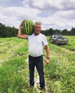 Outstanding in his field: Jim Lambeth shows off a giant watermelon he grew.