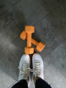 weights and white shoes